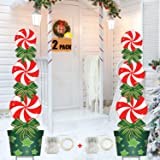 FLY HAWK Christmas Halloween Yard Stakes Signs, 2 Pack, 47in Candy Xmas Outdoor Decorations with String Lights Weather Resist