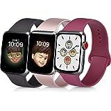 コンパチブル Apple Watch バンド 38mm 40mm 42mm 44mm スポーツシリコーン交換バンド防水ストラップiWatchシリーズ5/4/3/2/1に対応 (38mm/40mm-M/L, ブラック+ローズゴールド+ワインレッド)
