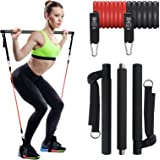 IKARE Adjustable Pilates Bar Kit with Resistance Bands(50lb & 30lb), Portable Fitness Exercise Workout Toning Bar Stick for S