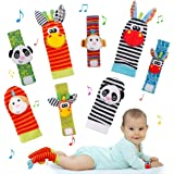 Baby Socks Toys Wrist Rattle and Foot Finder Developmental Early Educational Toys Set Infant Newborn Girl & Boy 0-3 3-6 Month