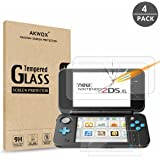 AKWOX (4-Pack) Nintendo 2DS XL Screen Protector, Tempered Glass Top LCD Screen Protector + HD Clear Crystal Buttom LCD Screen