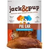 Jack&Pup Pig Ears for Dogs (18 Pack) Extra Thick Half Pigs Ears - Premium Odor Free Dog Pig Ear Treats - Healthy Dog Pork Che