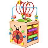 BATTOP Wooden Activity Cube Deluxe Multi-Function CPSC Certified Bead Maze Educational Toy 3 Year Old Toy (6 in 1)