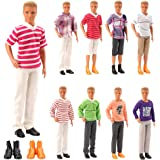 Barwa Lot 8 Items Clothes for 12 Inch Boy Doll EU CE-EN71 Certified Include 3 Sets Casual Wear + 3 Pcs Dolls Pants +2 Shoes