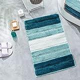 Green Planet Non-Slip Bathroom Rug Mat Shag Microfiber Shower Bath Rug Absorbent Bath Mat Machine Washable 17.8''x25.6'' (45x
