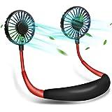 Neck Fan - Rose Abbey Hands Free Portable Neck Fan, USB Rechargeable Personal Neck Fan with 3 Speed 7 Gradient Color, Headpho