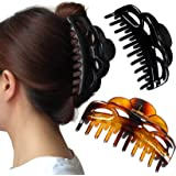 ACCGLORY Large Plastic Hair Clips for Women Thick Hair (Arc-Black+Brownish-02)