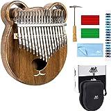Kalimba 17 Keys Thumb Piano Solid Wood Finger Piano Start Kits African Instrument with Protective Case Tuning Hammer Study Bo