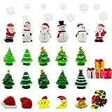 Iceyyyy 37 Pcs Mini Resin Christmas Ornaments - Mini Christmas Theme Resin Miniature Pendant Decoration DIY Kit(Pattern at Ra