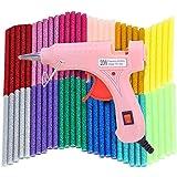 ホットメルトグルーガン 低温 軽量グルーガン グルースティック60本付属 手芸用 プラスチック用グルーガン DIY工具 修理 接着剤道具 過熱保護 強力粘着 (ピンク)