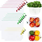 Ecowaare Set of 15 Reusable Mesh Produce Bags - Eco-Friendly - Washable and See-Through - with Colorful Tare Weight Tags - 3