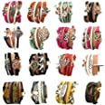 16pcs Handmade Braided Multi Layers Vintage Woven Rope Woven Leather Alloy Owl Infinity Wrap Bangle Bracelets