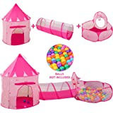 LDTNET 3 in 1 Kids Play Tent for Girls with Kids Ball Pit,Kids Play Tent & Crawl Tunnel for Toddlers, Indoor & Outdoor Tent G