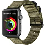 Amberwin Compatible for Apple Watch Band 44mm 42mm 40mm 38mm, Nylon NATO iWatch Band Strap for Apple Watch Series 5/4/3/2/1