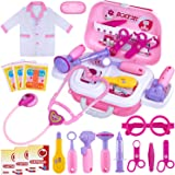 GINMIC Kids Doctor Play Kit, 22 Pieces Pretend Play Doctor Set with Roleplay Doctor Costume and Carry Case for Toddlers and K