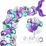 RUBFAC 312pcs Mermaid Party Supplies, Mermaid Tail Balloon Garland Set, Mermaid Arch Kit, for Mermaid Birthday Supplies, Unde