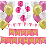 Happy Birthday Decorations Supplies, Gyvazla Happy Birthday Banner and 8pcs Pink and White Paper Honeycomb Balls, 12 Triangle
