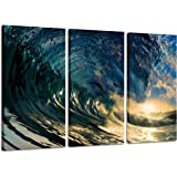 Canvas Painting Decor Ocean Pictures: Prints Beach The Waves Art Paintings Printed on Canvases Wall Decorations Artwork, 3 Pi