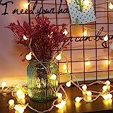 COOLBOTANG 可愛くて小さなボール LEDイルミネーションライト 5m 40球根 電飾led ストリングライト 電池式 フェアリーライト ワイヤーライト 新年 LEDライト 飾り 防水 結婚式 キャンプ用 誕生日 パーティー電飾 (ウォームホ