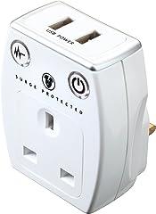 Masterplug SRGAUSBPW2-MPA High Gloss USB Surge Adaptor, White, Gloss White
