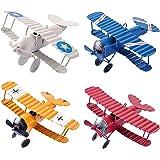 eZAKKA Aeroplane Decor Vintage Mini Metal Decorative Aeroplane Model Hanging Wrought Iron Aircraft Biplane Pendant Toys for P