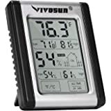 VIVOSUN Digital Indoor Thermometer and Hygrometer with Humidity Guage, Accurate Temperature Humidity Monitor Meter for Home,