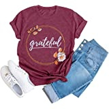 Women Short Sleeve Grateful Letter Printed Shirt Thanksgiving Cute Graphic Tees Casual Fall Tops