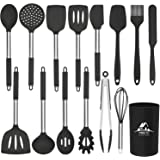 Mibote 15 Pcs Silicone Kitchen Utensils Set, Cooking Utensils Set with Heat Resistant BPA-Free Silicone and Stainless Steel H
