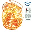 12APM Dimmable USB Plug Powered Fairy String Lights, 66 ft/200 LEDs with Remote and Timer, Copper Wire Starry Lights, USB Plu