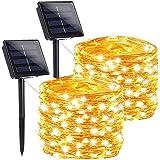 [2 Pack] Solar String Lights, 600 LED 60M 200ft Outdoor Fairy Bulb String Lights, Waterproof Solar Patio Lights for Patio, Ga