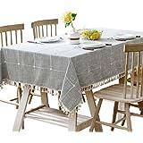 Modern minimalist style coffee table tablecloths, cotton linen Plaid art table cloth rectangular tablecloth (Size : 200*200cm