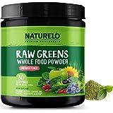 NATURELO Raw Greens Superfood Powder - Detox, Enhance Health - Organic Spirulina & Wheat Grass - Whole Food Vitamins from Fru