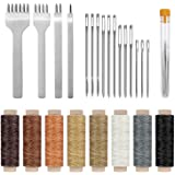 Cridoz 24 Pcs Leather Sewing Tools Stitching Pouch Kit with 4mm Prong Punch Stitching Chisel, Waxed Thread and Large-Eye Stit