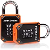 2 Pack FortLocks Gym Locker Lock - 4 Digit, Heavy Duty, Hardened Stainless Steel, Weatherproof and Outdoor Combination Padloc