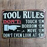 Garage Tool Rule Tin Metal Wall Decoration, Original Design Thick Tinplate Tool Rules Wall Art Sign for Garage