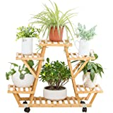 Bamboo Rolling 6 Tier Plant Stand Rack Multiple Flower Pot Holder Shelf Indoor Outdoor Planter Display Shelving Unit for Pati