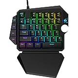 One-Handed RGB Mechanical Gaming Keyboard,39 Programmable Keys, Upgrade Multimedia Knob USB,Professional Rainbow Mechanical G