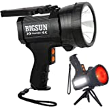 BIGSUN Q953 10000mAh Rechargeable Spotlight Flashlight with 6000 Lumen LED, Foldable Tripod and Strap, Wall and Car Charger A