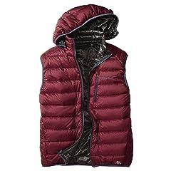 EB900 Fill Power Plus Reversible Down Hooded Vest 019240: Beet / Dark Slate