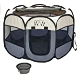 Portable Pet Playpen for Small Dogs - Innovative Foldable Pet Playpen with Removable Roll Top Cover for Shade - Indoor Outdoo