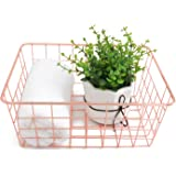 Metal Wire Storage Basket with Handles for Kitchen Food Pantry Papers Home Office Desk Basket Bathroom Laundry Room Basket Be