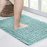 Walensee Bathroom Rug Non Slip Bath Mat (24x17 Inch Spa Blue) Water Absorbent Super Soft Shaggy Chenille Machine Washable Dry