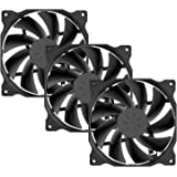 upHere Long Life Computer Case Fan 120mm Cooling Case Fan for Computer Cases Cooling,3-Pack,Black