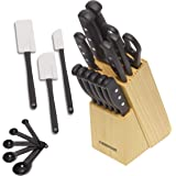Farberware 5152501 'Never Needs Sharpening' 22-Piece Triple Rivet Stainless Steel Knife Block Set with Kitchen Tool Set For B