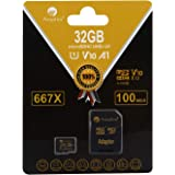 32GB MicroSD Micro SD SDHC Memory Card Plus Adapter (Class 10 U1 UHS-I V10 A1 HC Extreme Pro) Amplim 32 GB Ultra High Speed 6