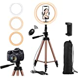 26 cm Ring Light with Tripod Stand and Remote,Rimposky Selfie Ringlight with Phone Holder for Photography/YouTube/Makeup/Vlog
