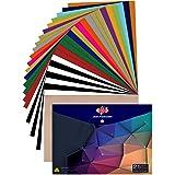 Heat Transfer Vinyl for T-Shirts 12x10 25 Multi-Color Sheets-Bonus Teflon Sheet Iron On Vinyl for DIY T-Shirts HTV Vinyl for