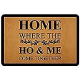 """Front Door Mat Entrance Floor Mat Home Where The Ho& Me Come Together Funny Doormat Decorative Indoor Outdoor Doormat, 23.6"""""""