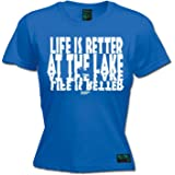 DROWNING WORMS Ladies Fishing Tee - Life is Better at The Lake Boat Rowangling Fish Rod Reel T- Shirt