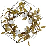 Idyllic 12 Inch Round Wreath Candle Ring Artificial Cotton Autumn Leaf Wreath Door Wall Window Decoration, Home Décor